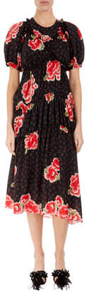 Simone Rocha Floral Puff-Sleeve A-Line Dress