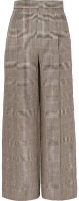 Brunello Cucinelli Houndstooth Linen Wide-leg Pants - Beige