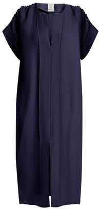 Maison Rabih Kayrouz Ruched Shoulder Midi Dress - Womens - Navy