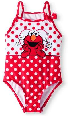 Sesame Street ELMO Baby Toddler Girl Polka Dot One Piece Swimsuit