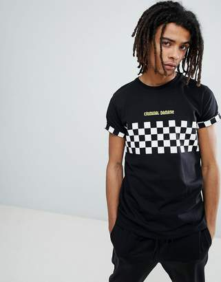 Criminal Damage T-Shirt In Black With Checkerboard Panel