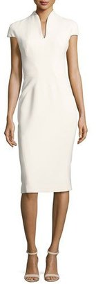 Zac Posen Stand-Collar V-Neck Sheath Dress, White $1,590 thestylecure.com