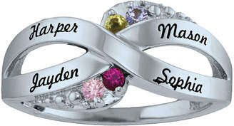 FINE JEWELRY Personalized Simulated Birthstone Engraved X Ring