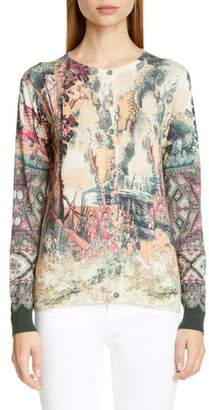 Etro Paisley Print Silk & Cashmere Cardigan