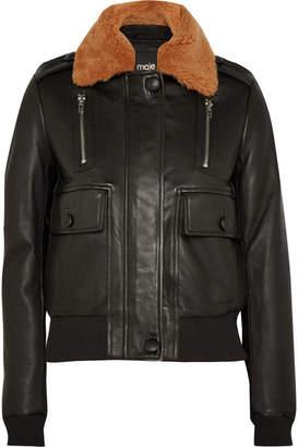 Maje Shearling-trimmed Leather Bomber Jacket - Black
