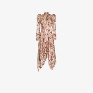 Zimmermann floral printed and neck tie silk-blend dress