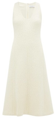 Marina Moscone - Scoop Neck Wool Blend Cloque Midi Dress - Womens - Ivory
