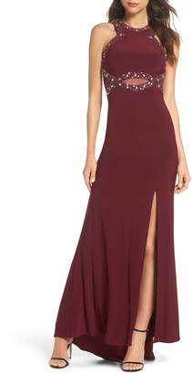 Morgan & Co. Embellished Illusion Gown