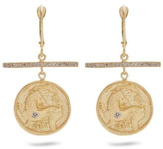 Azlee - Animal Kingdom Diamond & Yellow Gold Earrings - Womens - Gold