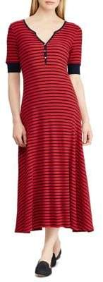 Lauren Ralph Lauren Striped Cotton Fit-&-Flare Midi Dress