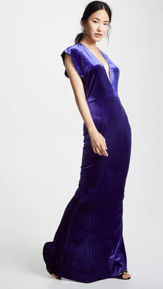 Norma Kamali Velvet Rectangle Gown