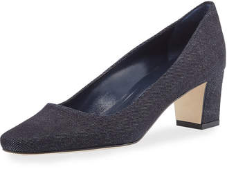 Manolo Blahnik Okkato Denim Loafer Pump