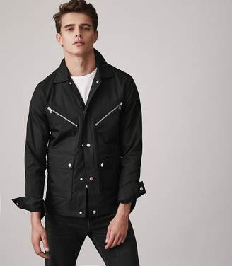 at Reiss Reiss Hexham - Button Through Casual Jacket in Black