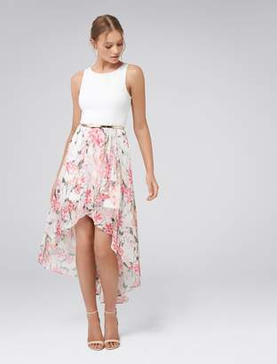 Forever New Danielle High-Low Dress - Bright Tropical Hibiscus - 4