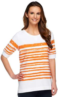 Denim & Co. Active French Terry Painterly Stripe Top