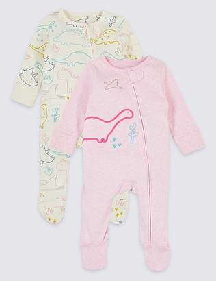 Marks and Spencer 2 Pack Pure Cotton Dinosaurs Sleepsuits
