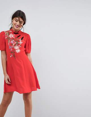 Asos Design Chinoiserie Embroidered Mini Dress