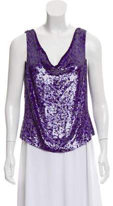 Rena Lange Sleeveless Sequined Top