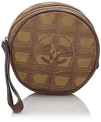 Chanel Pre-Loved Brown Khaki Canvas Fabric New Travel Line Coin Pouch ITALY