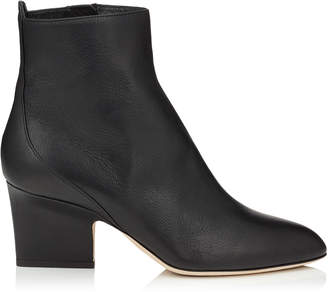 Jimmy Choo AUTUMN 65 Black Grainy Leather Round Toe Booties