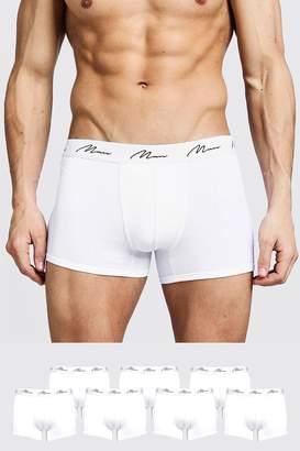 BoohoomanBoohooMAN Mens White 7 Pack MAN Signature Trunks, White