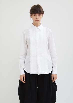 Comme des Garcons Cotton Broad Button Front Top With Ruffles