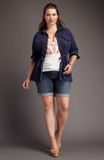 Lucky Brand 'Ginger' Frayed Denim Shorts (Plus Size)