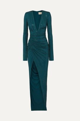 Alexandre Vauthier Crystal-embellished Ruched Stretch-crepe Gown - Petrol
