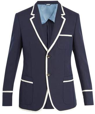Gucci - Contrast Trim Cotton Blend Jacket - Mens - Navy
