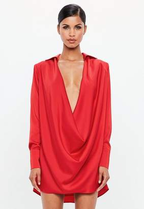 Missguided Red Satin Cowl Neck Mini Dress