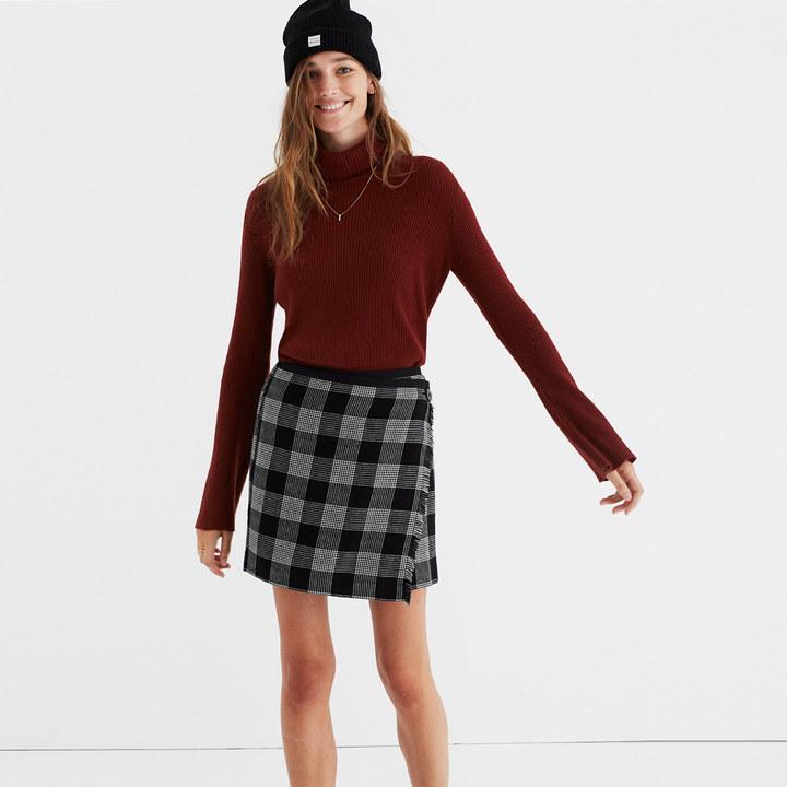 madewell plaid academy wrap skirt shopstyle co uk