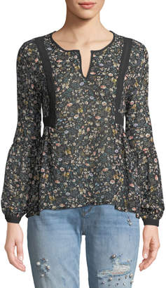 Black Tape Long-Sleeve Floral Chiffon Blouse