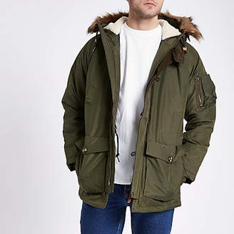 River Island Lee dark green faux fur trim parka jacket