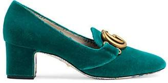 Gucci Women's Embellished Velvet Pumps - Turquoise