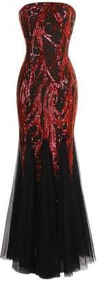 Angel-fashions Women's Unique Strapless Paillette Tree Branch Net Mermaid Gown Dress (M, Red Black)