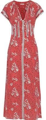 Tomas Maier Tulle-Appliquéd Floral-Print Silk Maxi Dress