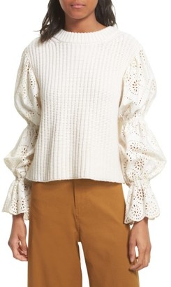 Women's Sea Eyelet Puff Sleeve Sweater $350 thestylecure.com
