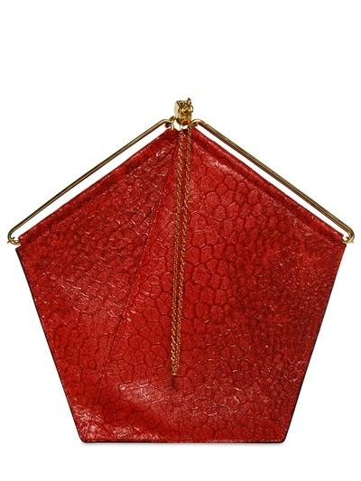 Pentagon Textured Leather Top Handle