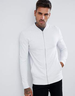 Asos DESIGN muscle jersey bomber jacket in white marl