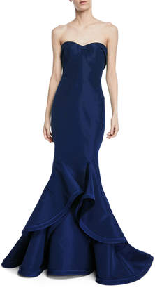 Zac Posen Strapless Silk Faille Ruffle-Hem Evening Gown
