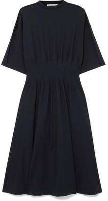 Jil Sander Gathered Stretch-cotton Jersey Midi Dress - Navy