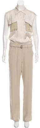 Bottega Veneta Contrast Button-Up Jumpsuit