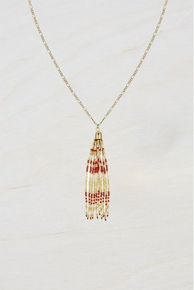 French Connenction Beaded Tassel Necklace