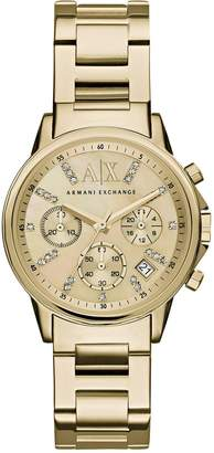 Armani Exchange Gold Tone Dial Chronograph Gold Tone Bracelet Ladies Watch