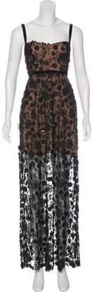 For Love & Lemons Sequin-Embellished Floral Sleeveless Maxi Dress