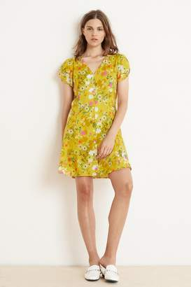 bd1709bd43e Velvet by Graham   Spencer KIRSTAN FLORAL CHALLIS SHORT SLEEVE BUTTON-UP  DRESS
