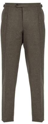 Thom Sweeney - Brook Slim Leg Wool Trousers - Mens - Brown