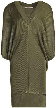 Roberto Cavalli Layered Draped Ribbed-Knit Mini Dress