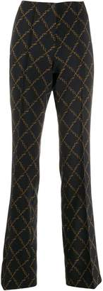 Cambio chain print flared trousers
