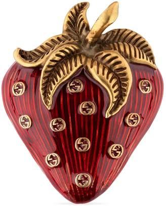Gucci Strawberry brooch with enamel